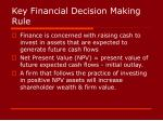 key financial decision making rule