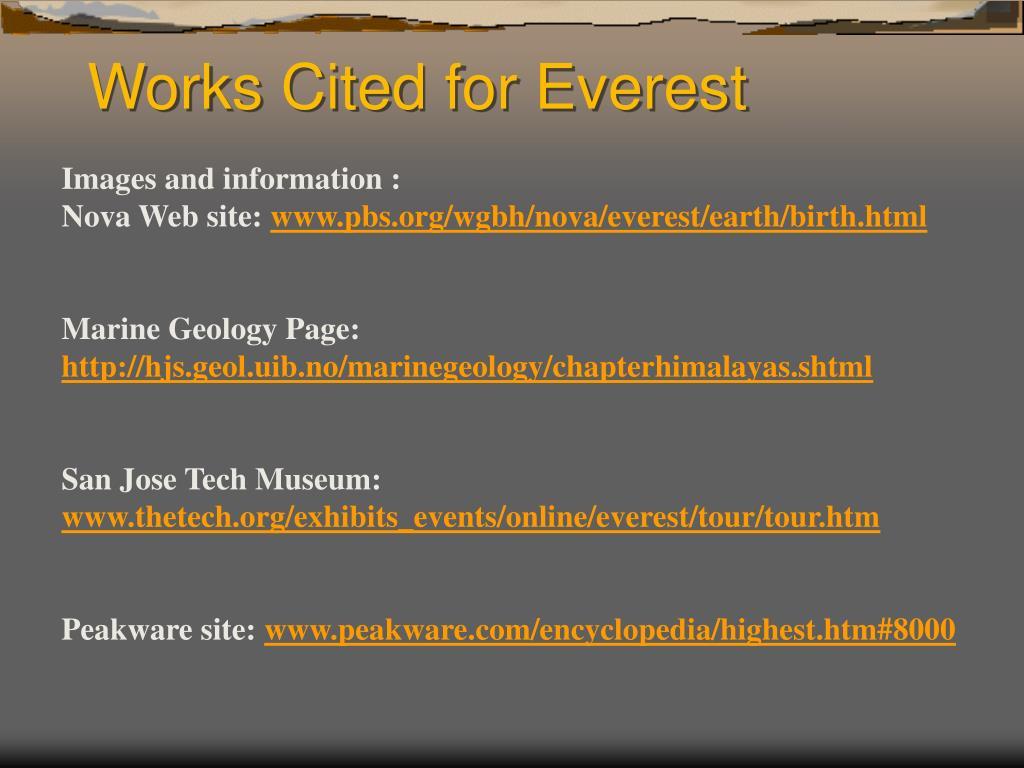 Works Cited for Everest