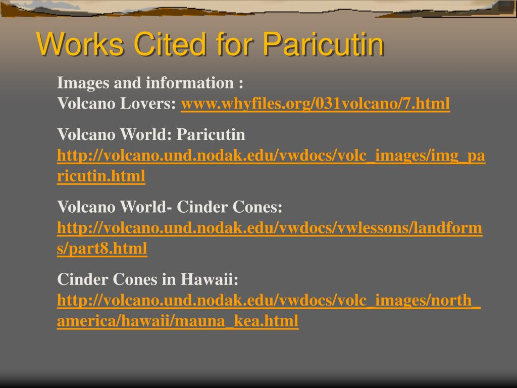 Works Cited for Paricutin
