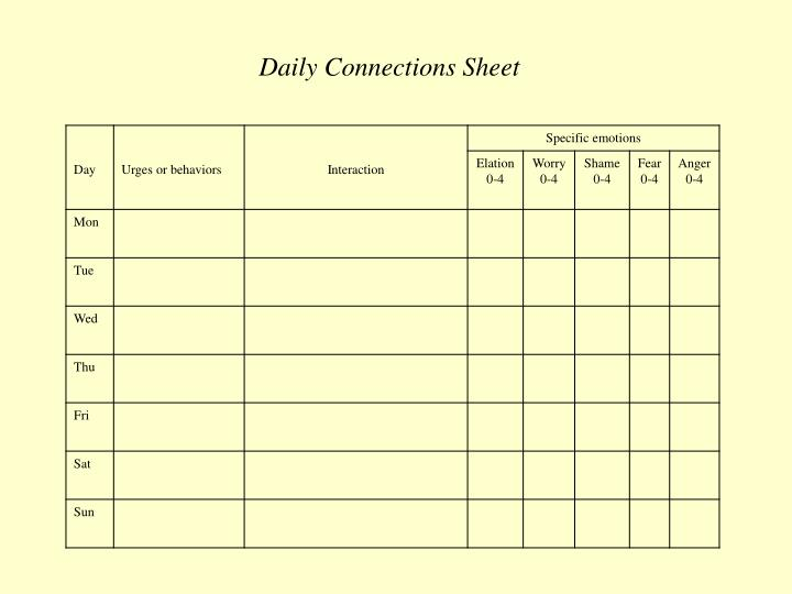 Daily Connections Sheet
