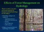 effects of forest management on hydrology