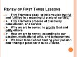 review of first three lessons