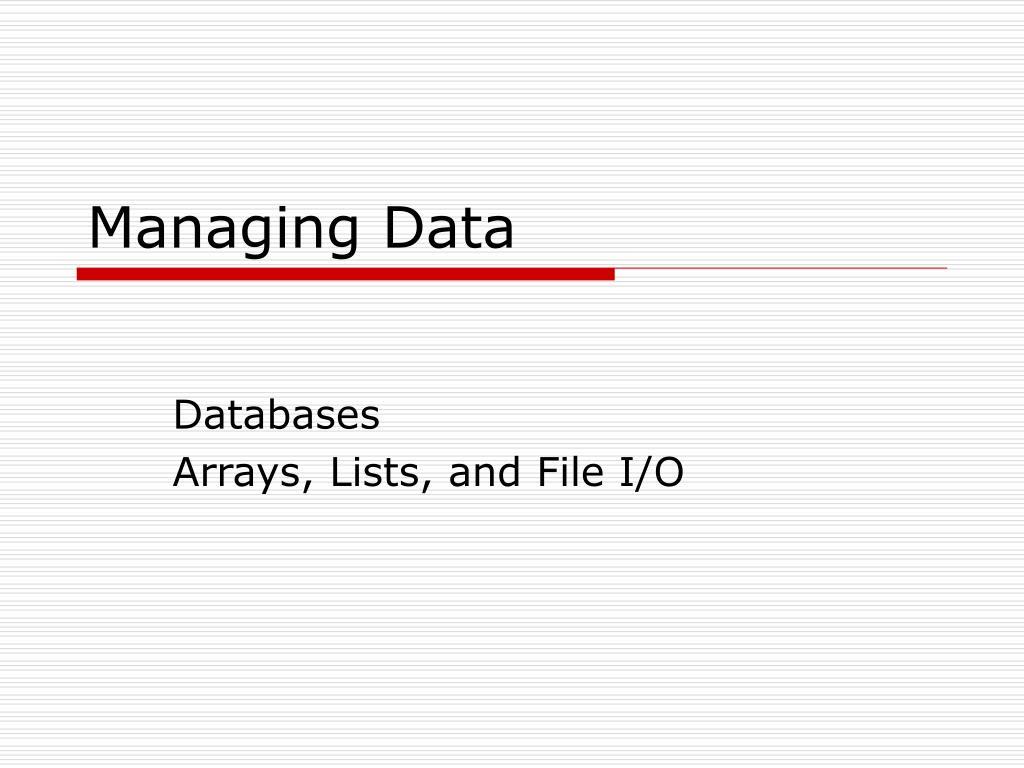 managing data l.