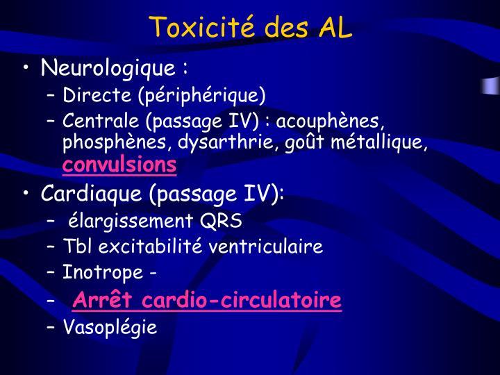 Toxicité des AL