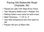 paving old statesville road charlotte nc