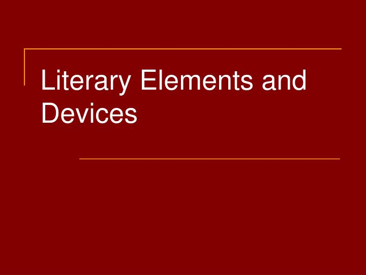 literary elements and devices n.