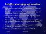 liability prosecution and sanctions