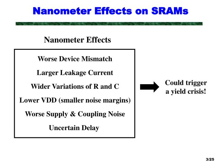 Nanometer effects on srams