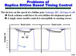 problems of replica bitline based timing control