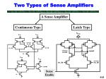 two types of sense amplifiers