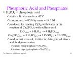 phosphoric acid and phosphates
