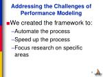 addressing the challenges of performance modeling