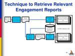 technique to retrieve relevant engagement reports