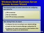 windows small business server remote access wizard