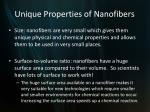 unique properties of nanofibers