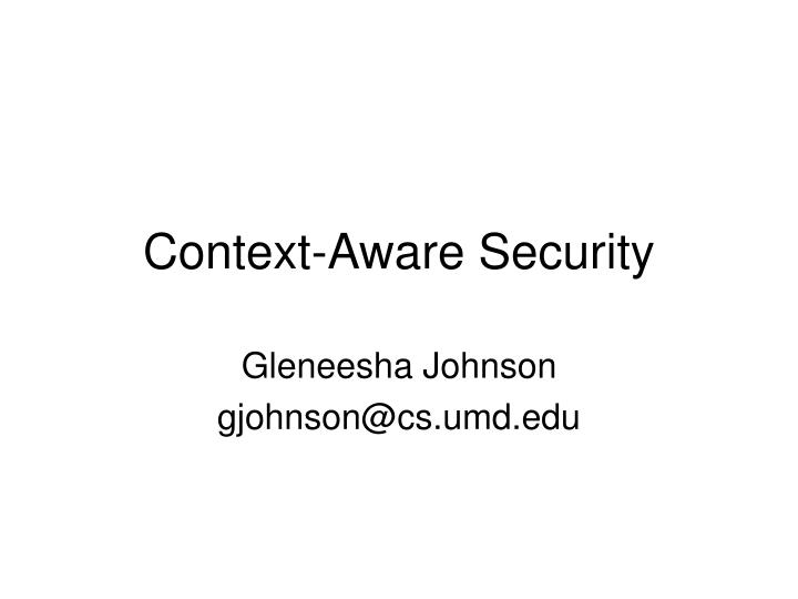 context aware security n.