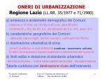 oneri di urbanizzazione regione lazio ll rr 35 1977 e 71 1980