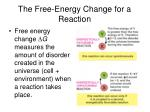 the free energy change for a reaction