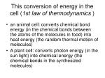 this conversion of energy in the cell 1st law of thermodynamics