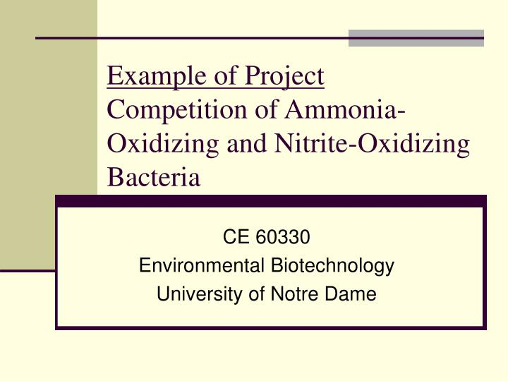 example of project competition of ammonia oxidizing and nitrite oxidizing bacteria n.