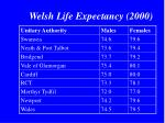 welsh life expectancy 2000
