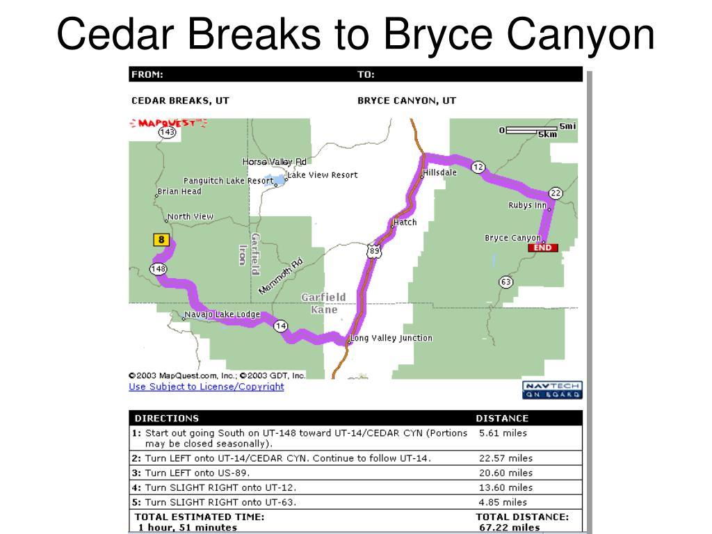 Cedar Breaks to Bryce Canyon