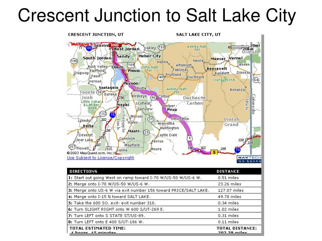 Crescent Junction to Salt Lake City