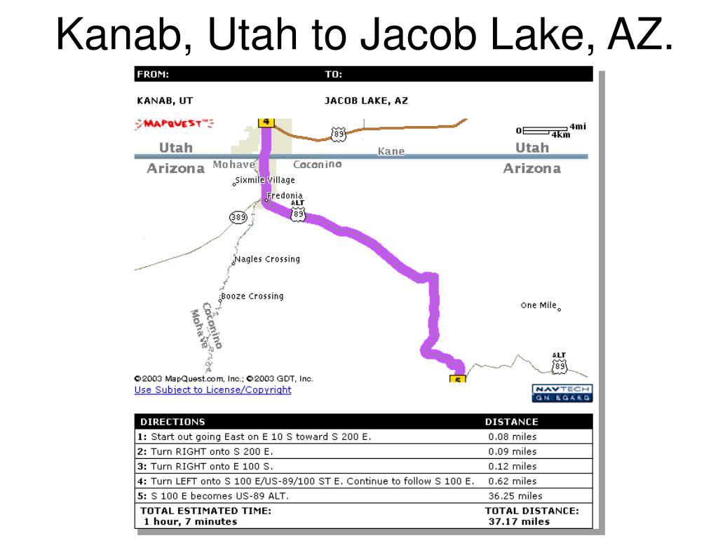 Kanab, Utah to Jacob Lake, AZ.