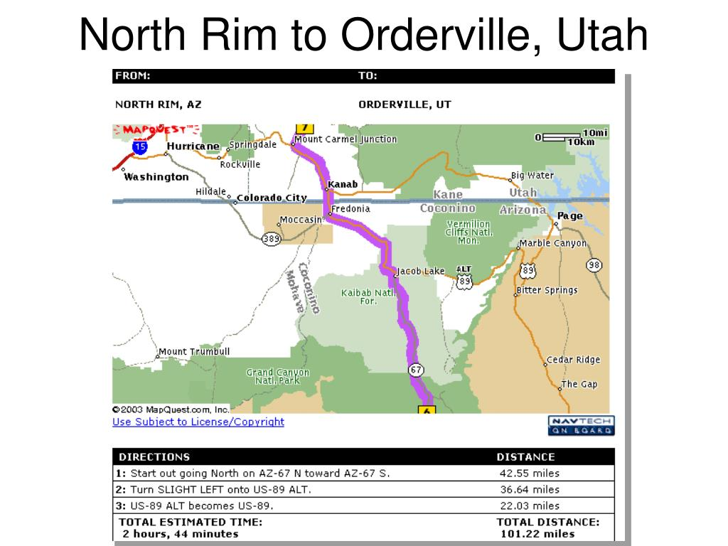 North Rim to Orderville, Utah