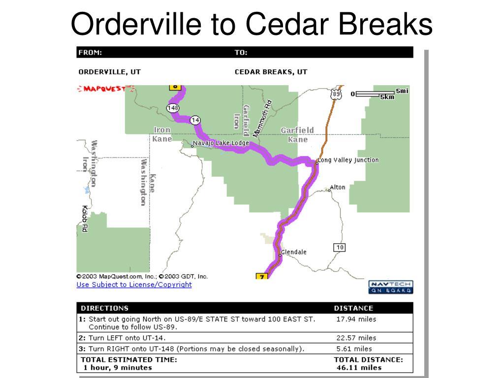 Orderville to Cedar Breaks
