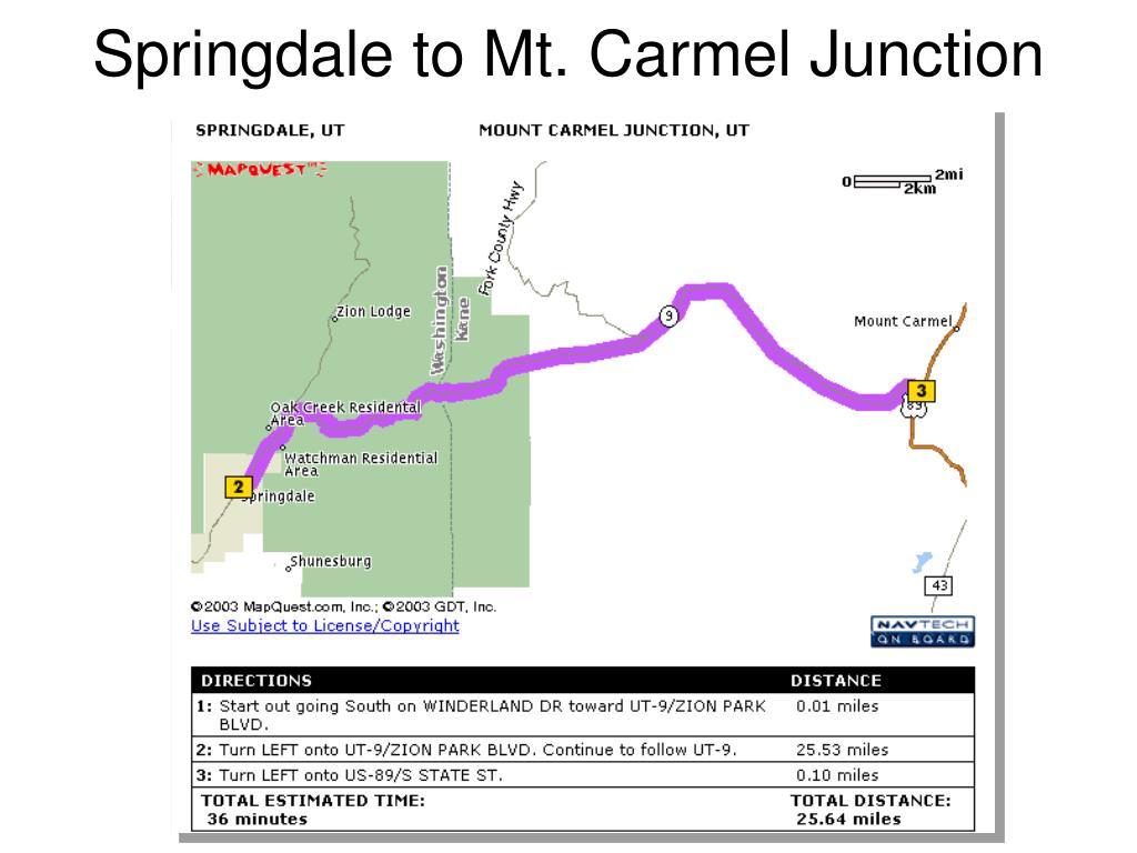 Springdale to Mt. Carmel Junction