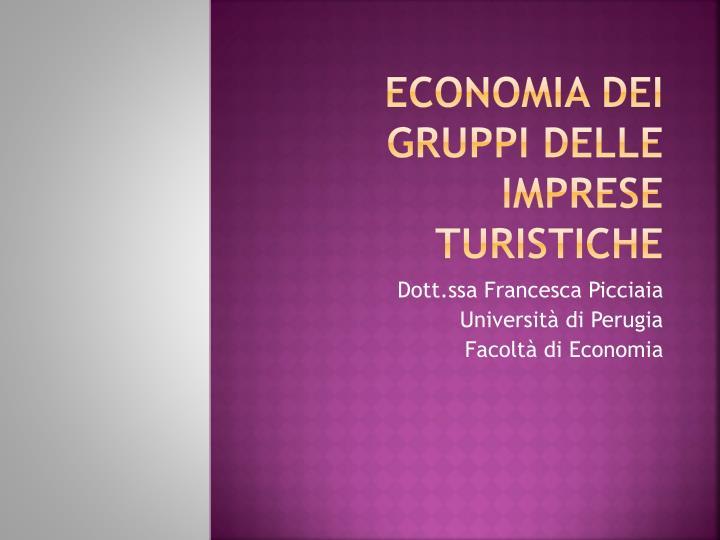 economia dei gruppi delle imprese turistiche n.