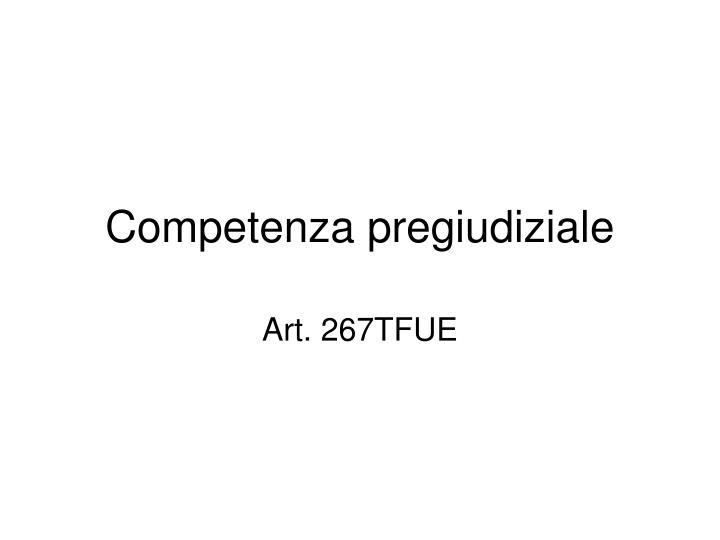 competenza pregiudiziale n.