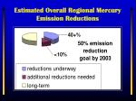 estimated overall regional mercury emission reductions