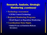 research analysis strategic monitoring continued