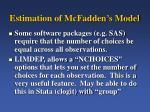 estimation of mcfadden s model