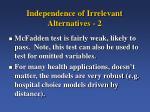 independence of irrelevant alternatives 2