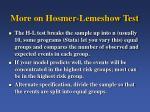more on hosmer lemeshow test