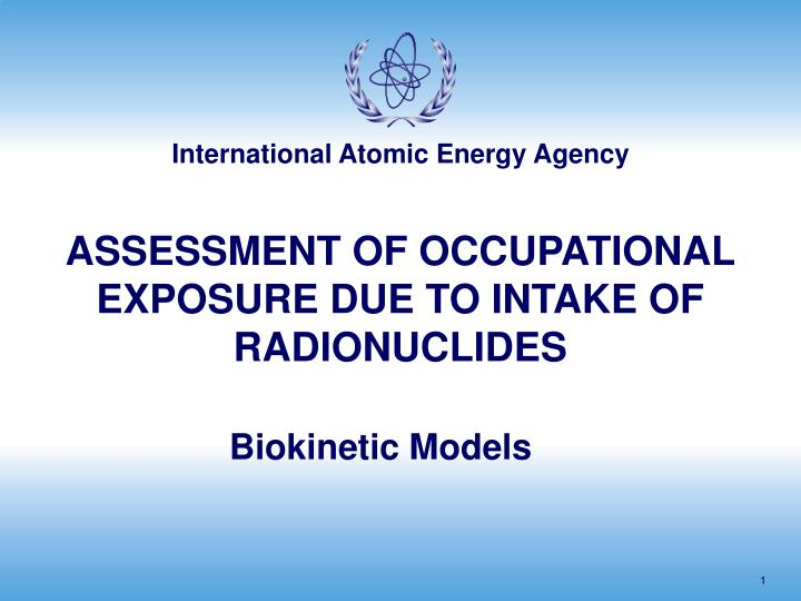 assessment of occupational exposure due to intake of radionuclides n.