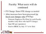 faculty what users will do continued