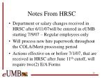 notes from hrsc