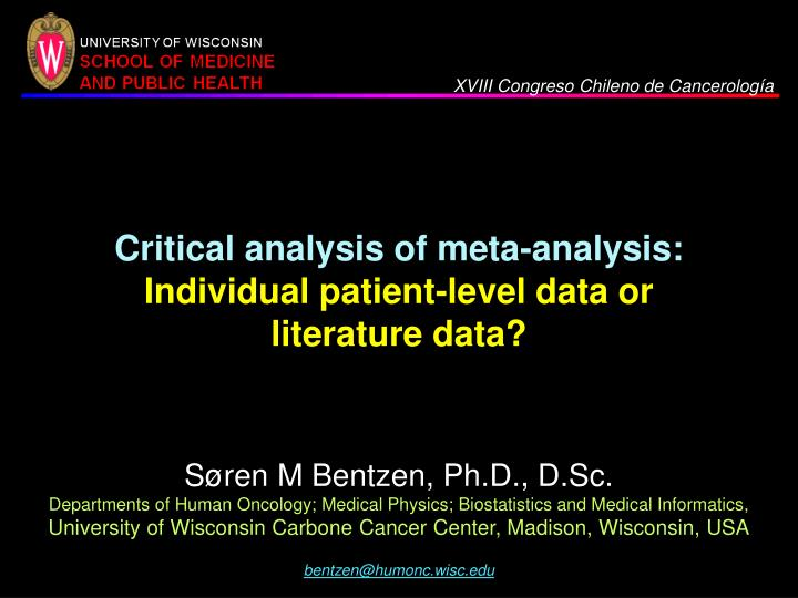 critical analysis of meta analysis individual patient level data or literature data n.