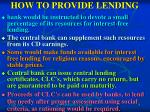 how to provide lending