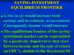 saving investment equilibrium frontier
