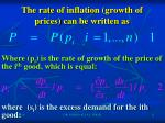 the rate of inflation growth of prices can be written as
