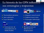 la historia de las cpn influencia sus estrategias y respuestas
