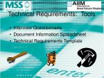 technical requirements tools