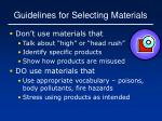 guidelines for selecting materials