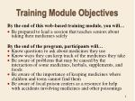 training module objectives