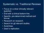 systematic vs traditional reviews